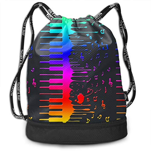 Zhangyi Rainbow Song Piano Keys Music Drawstring Backpack Sports Gym Cinch Sack Bag for Women Men Children Gymsack -