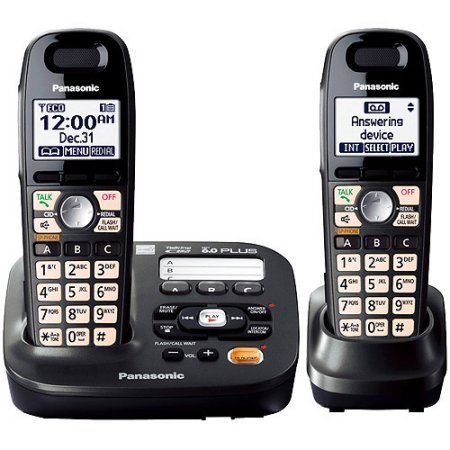 Panasonic KX-TG6592T DECT 6.0 Plus Expandable Digital Answering System with 2 (Voice Announce Talking Caller Id)