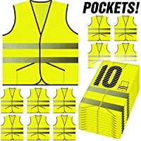 PeerBasics, Pocket Safety Vest 10 Pack, Yellow Reflective High Visibility, Hi Vis Silver Strip, Men & Women, Work, Cycling, Runner, Surveyor, Volunteer, Guard, Road, Construction (10, Neon Yellow)