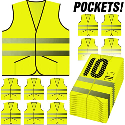 (PeerBasics, 10 Pack Safety Vest with Pockets, Reflective High Visibility, Hi Vis Silver Strip, Men & Women, Work, Cycling, Runner, Crossing Guard, Road, Construction (Neon Yellow Knitted, 10) )