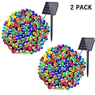 woohaha Solar Fairy String Lights Outdoor Waterproof, 2 Pack 33ft 100LED Solar Powered String Lights for Christmas Patio Home, Wedding, Party