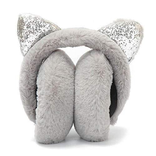 AOLVO Women Earmuff, Cute Cat Ear Ear Muff Faux Plush Outdoor Earwarmer Headband for Girls Youth Winter ()