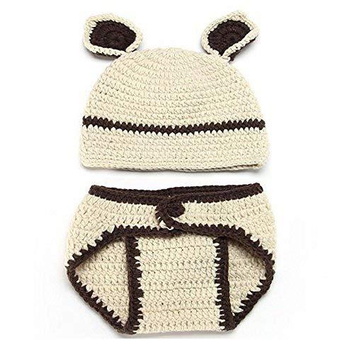 Matissa Newborn Baby Girl/Boy Crochet Knit Costume Photo Photography Prop Hats Outfits (Bear) -