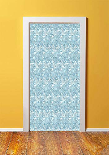 Teal and White 3D Door Sticker Wall Decals Mural Wallpaper,Japanese Style Oceanic Waves Splashing Water Swirls Aquatic Artful Pattern,DIY Art Home Decor Poster Decoration 30.3x78.11788,Blue White