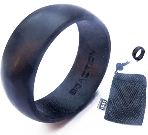 Men's Silicone Wedding Ring Band Perfect Husband Gifts From Wife - Black with Mesh Bag - Size 8: Diameter: 18.19 mm