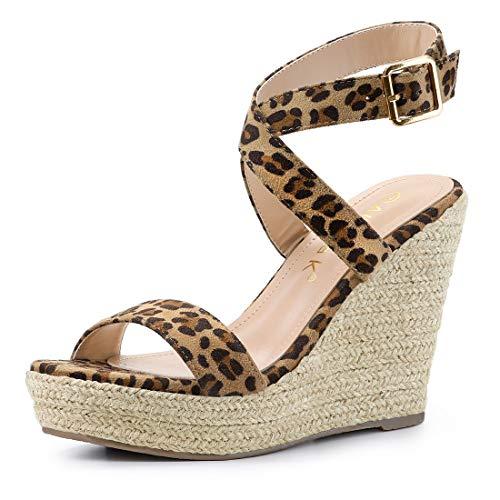 Allegra K Women's Slingback Crisscross Wedges Heel Leopard Espadrille Sandals - 8.5 M US