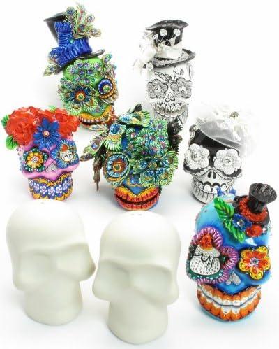 10 pares de cerámica sin pintar DIY de calavera – C, pastel de boda figura decorativa LISTA para pintar calavera del día de los muertos tus proyectos de manualidades: Amazon.es: Juguetes y