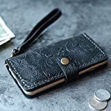 Leather iPhone 8/8 plus case iPhone 7/7 Plus wallet case iPhone 6/6s/6 plus/6s Plus wallet case, iPhone SE/5/5s wallet Case - Italian distressed oiled leather (Black Pattern)