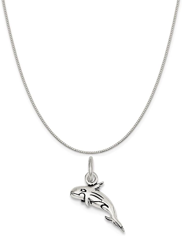 Mireval Sterling Silver Antiqued Whale Charm on a Sterling Silver Chain Necklace 16-20
