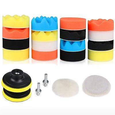 RilexAwhile Car Foam Drill Polishing Pad Kit 3 Inch/80mm Foam Drill Buffing Sponge Pads Kit for Car Sanding, Polishing, Waxing,Sealing Glaze,22 Pack: Home Improvement