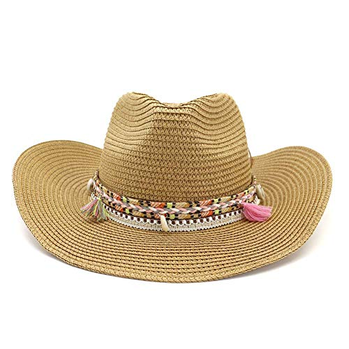 (Women's Woven Straw Cowboy Hat w/Beaded Trim Band Hat Beach Holiday Sun Hats-B)