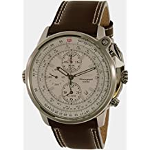 Seiko Men's Flightmaster SNAB71 Brown Calf Skin Quartz Watch