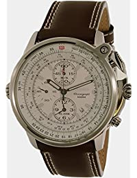 Seiko Men's Flightmaster SNAB71 Brown Calf Skin Quartz Watch
