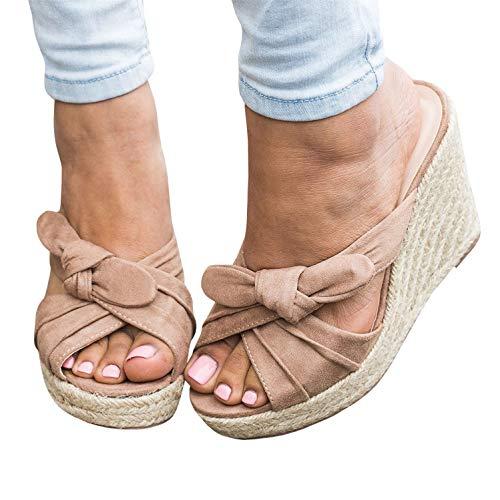 Syktkmx Womens Platform Wedges Slides Espadrille Slip on Heeled Tie Knot Peep Toe Sandals (8M US, Nude)