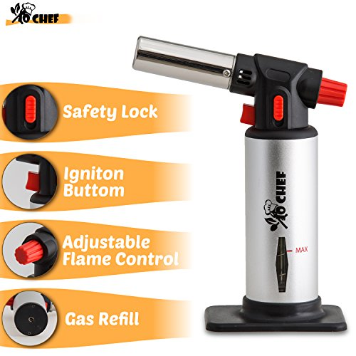 Jo Chef Professional Kitchen Torch U2013 Aluminum Refillable Crème Brulee Blow  Torch U2013 Safety Lock U0026 Adjustable Flame + Fuel Gauge U2013 For Cooking