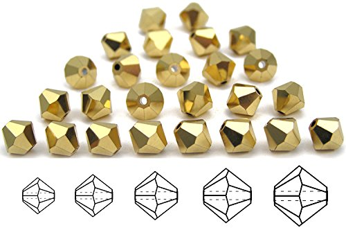 3mm Crystal Aurum2X Gold Fully Coated, Czech MC Rondell Bead (Bicone, Diamond Shape), 2.5 gross = 360 pieces