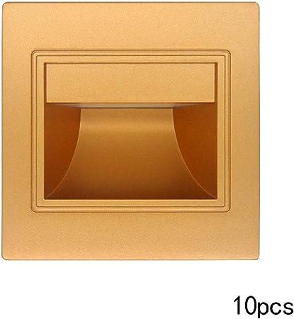 GAOLEI1 Luz empotrada de Escalera LED Nuevas lámparas de Aplique Luz de pie de Pared Moderna Pasos Interiores Escalera Escalera Escalera Luz de Pasillo Champán Luz roja Luces Decorativas (10 Piezas): Amazon.es: