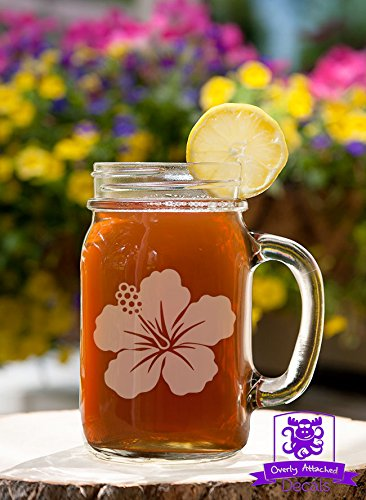 Hawaiian Flower Mason Handled Jar Beer Mug Gift