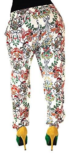 Damen Hose Haremshose Freizeithose Hose mit Muster Baumwolle Sommerhose (Creme Rot )