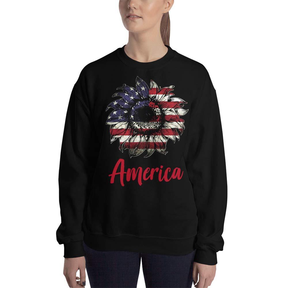 Sunflower United States Flag Unisex Sweatshirt Independence Day July 4th Gift