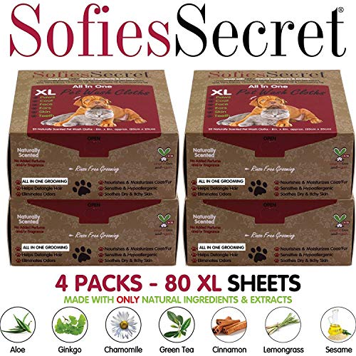 SofiesSecret 80XL Pet Wipes for Dogs+Cats, All in ONE Grooming, Travel Pack, 100% Natural Oils & Extracts, Extra Thick, Ultra Soft, Extra Large, Cruelty Free & Vegan