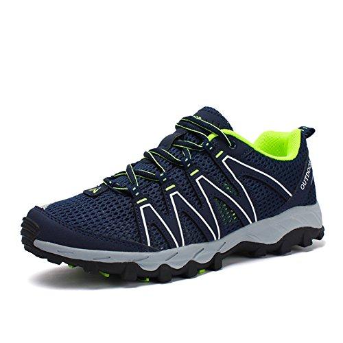 Toptak Herren Low-Top Wanderschuhe Wasserdichte Outdoor Walking Sport Trainers Blau Blau