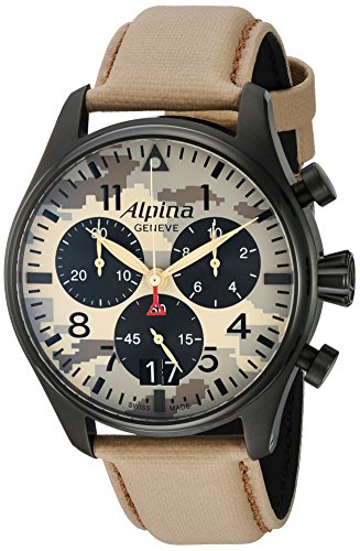 Alpina-Mens-STARTIMER-PILOT-Quartz-Stainless-Steel-and-Leather-Casual-Watch-ColorBeige-Model-AL-372MLY4FBS6