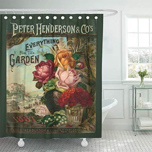 Flower Catalog - Semtomn Shower Curtain Garden Vintage Seed Catalog Flowers Antique Broadsides 72