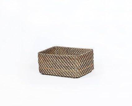 Cestas hechas a mano Ratán hecho a mano caja de almacenamiento de control de escritorio cestas