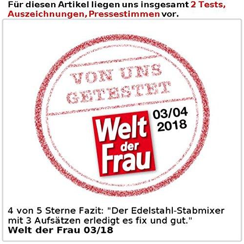 Hochwertiger Edelstahl-Stabmixer mit 3 Aufs/ätzen /& Mixbecher Stabmixer K/üchenger/äte Sichler Haushaltsger/äte Zerkleiner 800 Watt