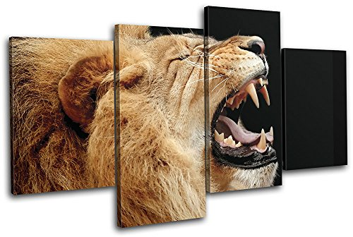 Lion Picture Roar (Bold Bloc Design - Lion Roar Wild Animals 240x135cm MULTI Canvas Art Print Box Framed Picture Wall Hanging - Hand Made In The UK - Framed And Ready To Hang)