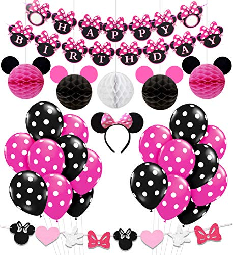 KREATWOW Minnie Mouse Birthday Party Supplies Decorations for Girls 1st 2nd 3rd Birthday Baby Shower ()