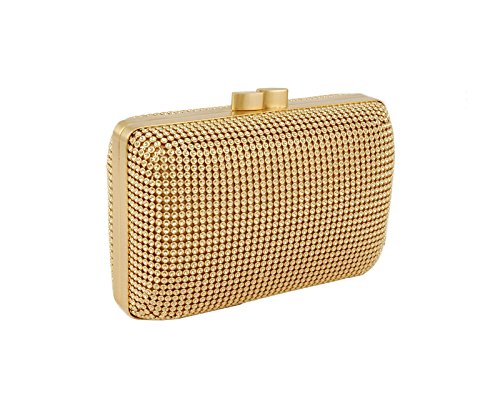 Whiting & Davis Dimple Mesh Minaudiere 1-5832GL Clutch,Gold,One Size by Whiting & Davis