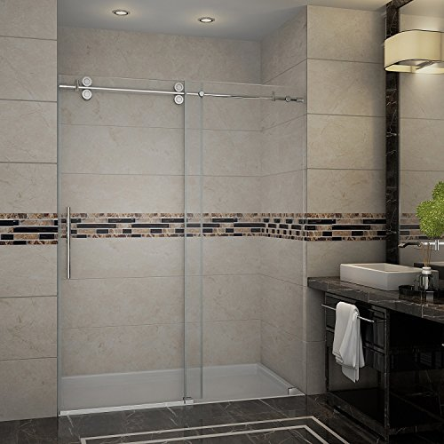 "Aston Langham 56"" to 60"" x 75"" Completely Frameless Frosted Glass Sliding Shower Door, Brushed Stainless Steel"