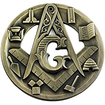 3 Diameter Widows Son Skull Square /& Compass Round Black /& Gold Masonic Auto Emblem