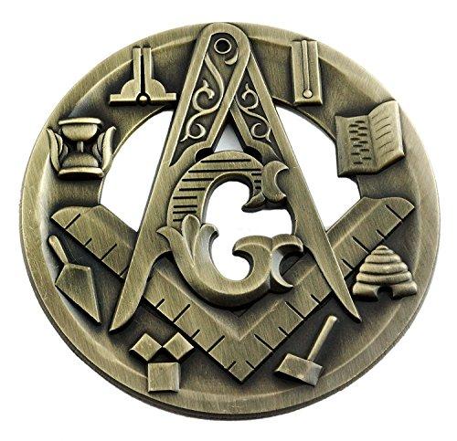 [해외]프리메이슨 상징 사각형 및 나침반 원형 앤티크 황동 자동차 엠블럼 - 지름 3cm / Symbolic Square & Compass Round Antique Brass Masonic Auto Emblem - 3 Diameter