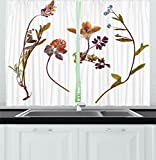 Cute Kitchen Window Curtains Flower Decor Kitchen Curtains by Ambesonne, Book Dried Cute Flowers Lilacs Daisies Tulips Leaves Garden Buds Art Print , Window Drapes 2 Panels Set for Kitchen Cafe, 55W X 39L Inches, Multicolor