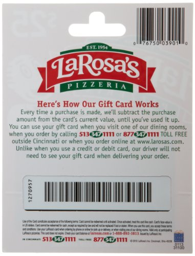 Amazon.com: LaRosa's Pizzeria Gift Card $25: Gift Cards