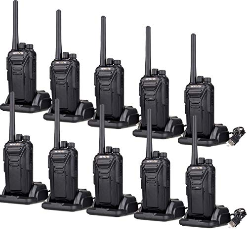 (Retevis RT27 Walkie Talkies Rechargeable Long Range for Adults Anti-Interference Security Heavy Duty Two-Way Radios (Black,10 Pack))