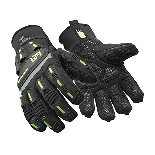 (RefrigiWear Insulated Extreme Freezer Gloves with Grip Palm & Impact Protection (Black, Large))