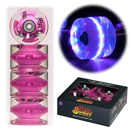 Sunset Skateboards Purple 65mm Longboard LED Light-Up Wheels Set with ABEC-7 Carbon Steel Bearings (4-Pack) ()