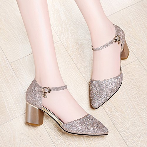 New With High Rhinestones Heels Word Buckle Summer Golden Sandals Female heels Jqdyl With Thick Baotou HaTxEx