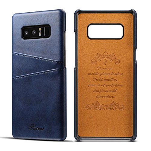 Price comparison product image For Samsung Galaxy Note 8 Case, Iusun Premium Leather Card Slots BackCover Protective Cover For Samsung Galaxy Note 8 (Blue, Samsung Galaxy Note 8)