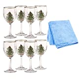 Spode Christmas Tree Wine Goblets with Gold Rims, 2-Pack (Total of 8) with Dish Cloth