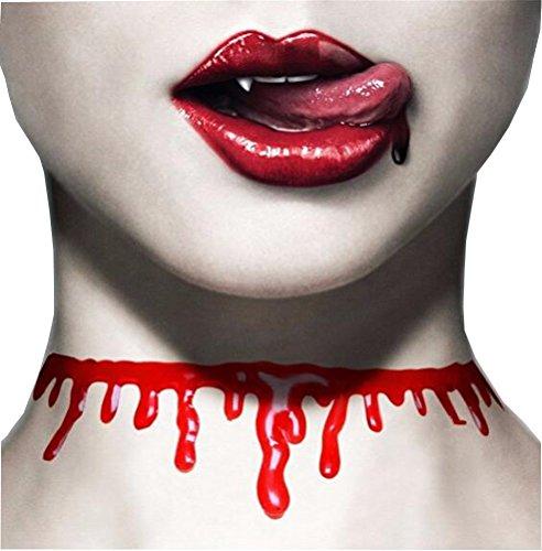 SunIfSnow Women Halloween Bloody Red blood Creative Cutting Simulation Bleeding Collar Choker Necklaces (Pretty Little Liars Halloween Photos)