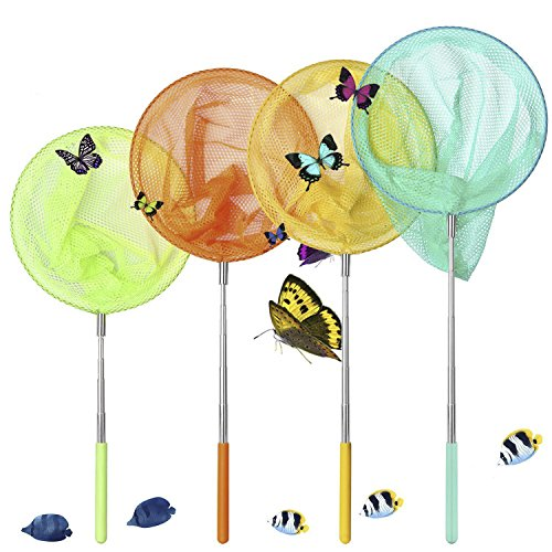 GeMoor 4 Pack Telescopic Butterfly Nets - Great for Catching Insects Bugs Fishing - Outdoor Tools for Kids Playing - Extendable from 6.8'' to 34'' (Blue Orange Yellow Green)