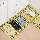 Yiwa PVC Cartoon Thickened Anti-slip Mat Printed Water-absorbing Cushion Pad Bathroom Kitchen yellow 50x80cm