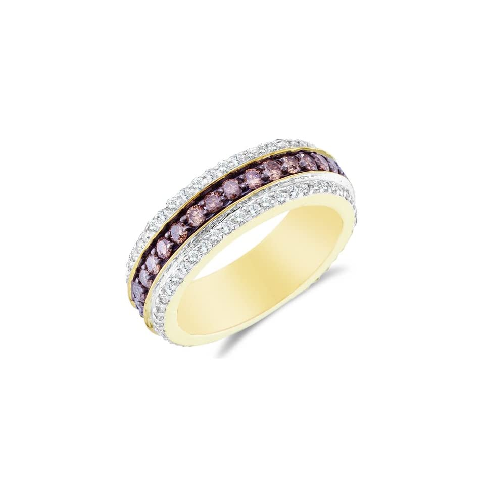 Size 6   14K Yellow and White Two Tone Gold Large White and Chocolate