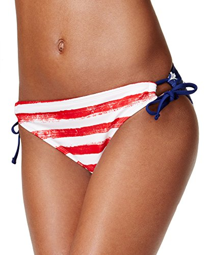 California Waves Women's USA Reversible Printed Side-Tie Hipster Bikini Bottom (Large) (Tie Hipster Side)