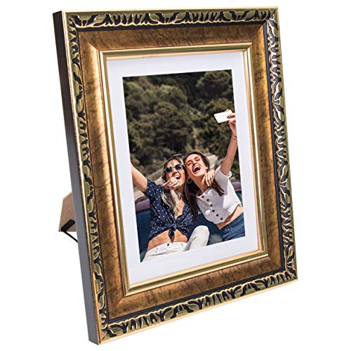 Beyond Your Thoughts 8x10 Picture Photo Frame Antique with Matted for 5X7 Gold Color, Vertical or Horizontal, Table Top and Wall Mounting Display